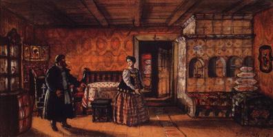 Комната в доме Прокофия Пазухина (Б. Кустодиев, 1918 г.)