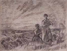 Летний пейзаж с женскими фигурами (Б. Кустодиев, конец 1910-х гг.)