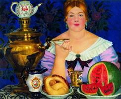 Купчиха, пьющая чай (Б. Кустодиев, 1923 г.)