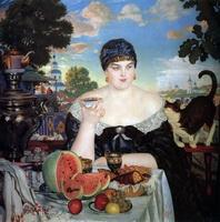 Купчиха за чаем (Б. Кустодиев, 1918 г.)