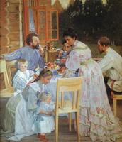 На террасе (Б. Кустодиев, 1906 г.)