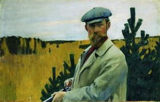 Автопортрет на охоте (Б. Кустодиев, 1905 г.)
