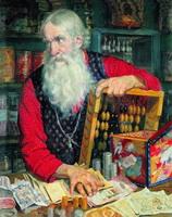 Купец - Старик с деньгами (Б. Кустодиев, 1918 г.)