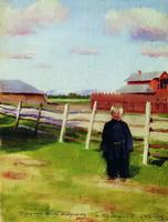 Мальчик у забора (Б. Кустодиев, 1915 г.)