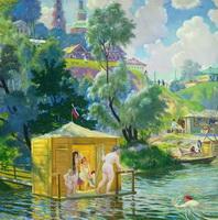 Купанье (Б. Кустодиев, 1921 г.)