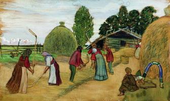 Молотьба (Б. Кустодиев, 1908 г.)
