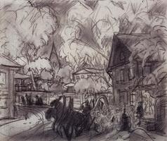 Городской пейзаж с тройкой (Б. Кустодиев, начало 1920-х гг.)
