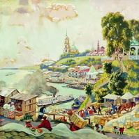 На Волге (Б. Кустодиев, 1910 г.)