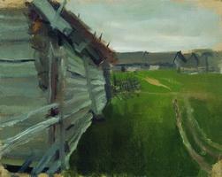 Пейзаж в Костромской губернии (Б.М. Кустодиев, 1914 г.)