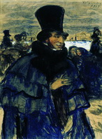 А.С. Пушкин на набережной Невы (Кустодиев)