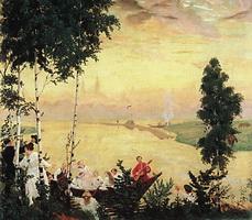 Загородная прогулка (Б. Кустодиев, 1918 г.)