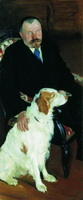 Портрет С.Я. Любимова с собакой