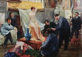 Постановка натуры в мастерской И.Е. Репина (Б.М. Кустодиев, 1899 г.)