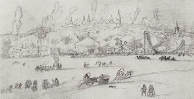 Зимнее гулянье на реке (Б. Кустодиев, 1919 г.)