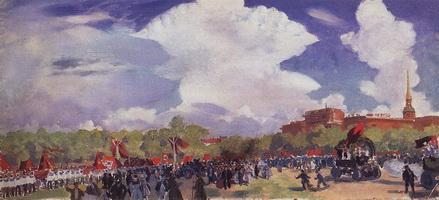 Первомайский парад. Петроград. Марсово поле (Б.М. Кустодиев, 1920 г.)