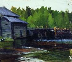 Павловская мельница на реке Яхруст (Б.М. Кустодиев, 1905 г.)