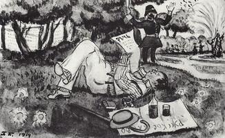 В.В. Лужский на отдыхе в Гайд-парке. Лондон (Б. Кустодиев, 1914 г.)