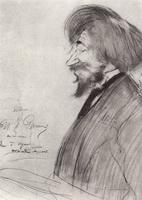 Портрет И.Е. Репина - шарж (Б.М. Кустодиев, 1902 г.)