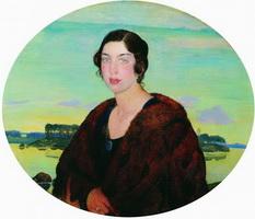 Портрет пианистки Рахили Иосифовны Слонимской (Б.М. Кустодиев, 1922 г.)