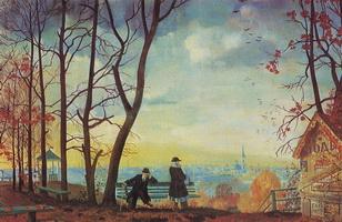 Осень - Над городом (Б.М. Кустодиев, 1918 г.)