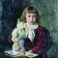 Мальчик с мишкой (Б. Кустодиев, 1907 г.)