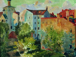 Вид из окна (Б. Кустодиев, до 1926 г.)
