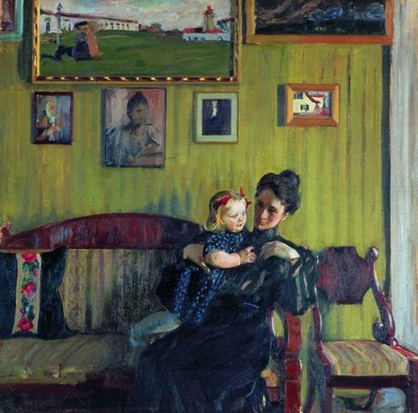 Портрет Ю.Е. Кустодиевой с дочерью Ириной.