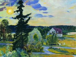 Вечерний пейзаж (Б. Кустодиев, 1917 г.)