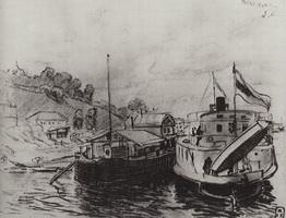 Кинешма. Пароход у пристани (Б. Кустодиев, 1906 г.)