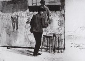 Мурашко за работой над коллективной картиной Постановка модели в мастерской Репина