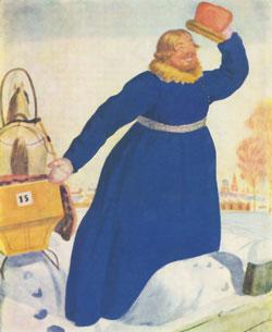 Б.М.Кустодиев. Лихач. Акварель из серии «Русские типы». 1920