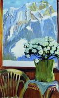 Цветы на балконе на фоне гор (Б.М. Кустодиев, 1912 г.)