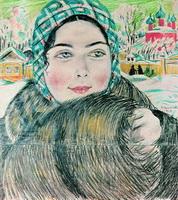Молодая купчиха в клетчатом платочке (Б. Кустодиев, 1919)