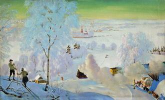 Лыжники (Б. Кустодиев, 1919 г.)