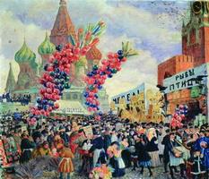 Вербный торг у Спасских ворот на Красной площади в Москве (Б. Кустодиев)