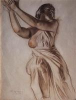 Стоящая женщина с поднятыми руками (Б.М. Кустодиев, 1915 г.)