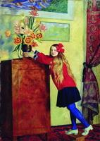 Девочка с цветами (Б. Кустодиев, 1917 г.)