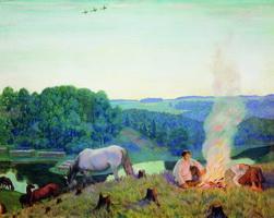 Костер. Ночное (Б. Кустодиев, 1916 г.)