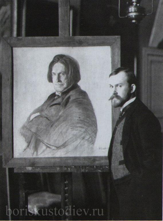 Кустодиев в мастерской у портрета Ершова 1905