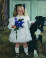 Портрет Ирины Кустодиевой с собакой Шумкой (Б.М. Кустодиев, 1907 г.)