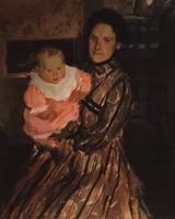 Портрет Ю.Е. Кустодиевой с сыном (Б.М. Кустодиев, 1904 г.)