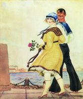Матрос и милая (Б. Кустодиев, 1921 г.)