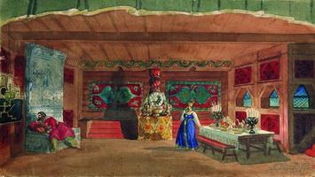 Эскиз декорации к спектаклю Царская невеста (Б.М. Кустодиев, 1920 г.)