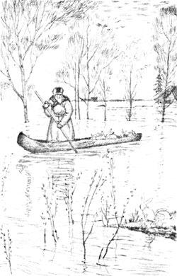 Б.М.Кустодиев. Дедушка Мазай и зайцы. Иллюстрация к сборнику «Шесть стихотворений Некрасова». 1921
