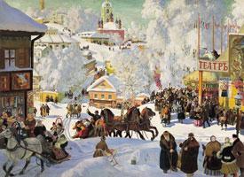 Масленица - Масленичное катание (Б. Кустодиев, 1919 г.)
