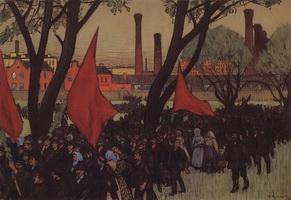 Первомайская демонстрация у Путиловского завода (Б.М. Кустодиев, 1906 г.)