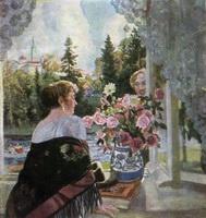 Сцена у окна (Б.М. Кустодиев, 1921 г.)
