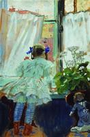У окна. Портрет И.Б. Кустодиевой (Б.М. Кустодиев, 1910 г.)