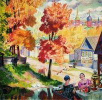 Осень в провинции. Чаепитие (Б.М. Кустодиев, 1926 г.)