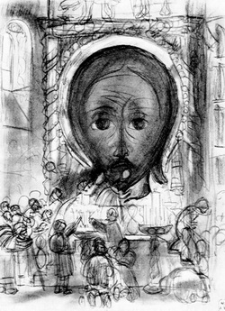 У иконы Спаса (рисунок, 1910 г.)